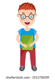 Little boy in spectacles holding a book. Vector illustration.