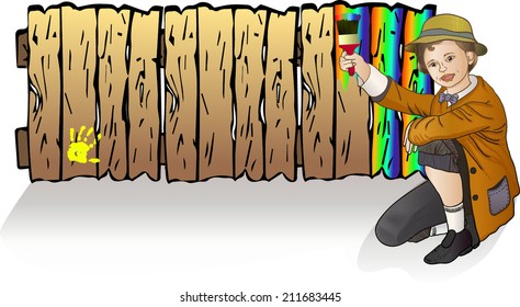 the little boy in the straw hat Tom Sawyer painting the fence rainbow paint - vector illustration