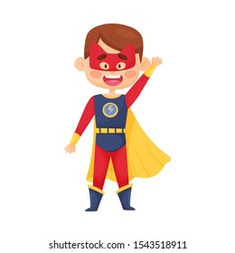 Little Boy In Superhero Costume And Mask With Cat Ears Vector Illustration