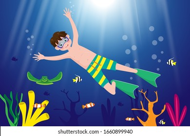 Little boy swimming in underwater on the sea background. Vector illustration in cartoon character flat style.
