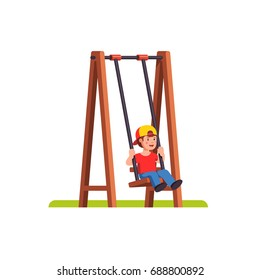 Little boy swinging on a swing with wooden supports. School or kindergarden kid playing outside on public playground. Flat style cartoon vector illustration isolated on white background.