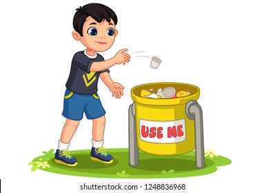 Little boy throwing garbage in trash bin vector illustration