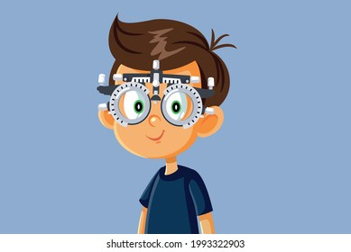 Little Boy Undergoing Eye Test with Phoropter. Child having eyesight checked by professional oculist for early detection of vision problems