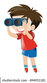 Little boy using binocular illustration