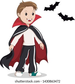 Little boy in vampire costume. Vector illustration