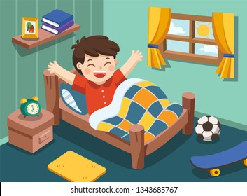 A Little boy wake up in the morning. Isolated vector.