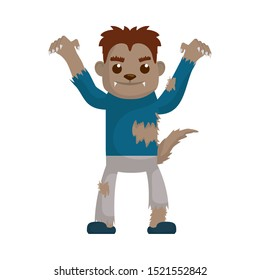 little boy with werewolf costume character vector illustration design