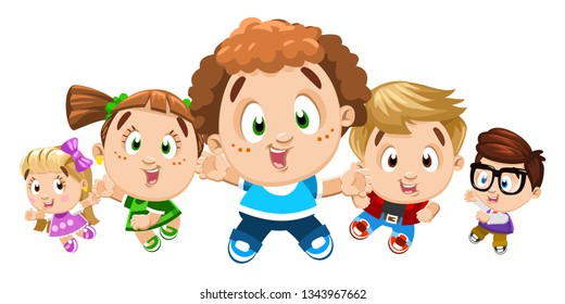 Little boys and girls dancing, jumping, doing aerobics, moving the body. Foreshortening view. Cartoon stock vector set of cheerful children isolated on white background. Concept of careless childhood.