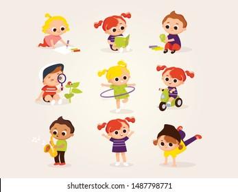 Little boys and girls play. Children's activities.