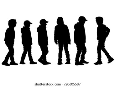 Little boys silhouettes on a white background