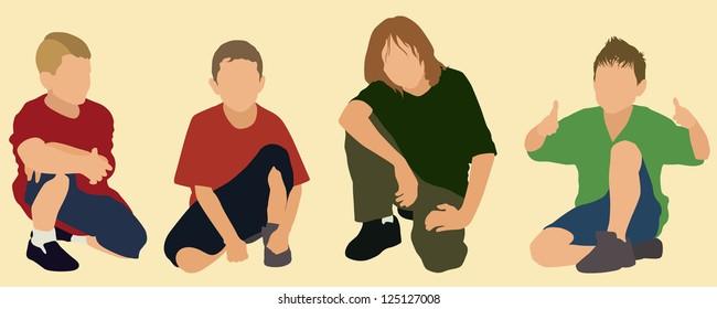 Little boys squatting or kneeling