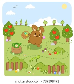 Little brown bunny on egg hunt in a garden with apple trees (kawaii vector illustration)