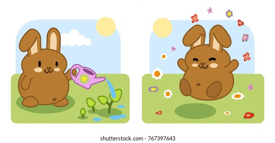 Little brown bunny watering huge plants, jumping in flowers in a garden (two kawaii illustrations)