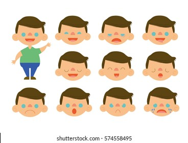 Little brown hair boy feelings set vector