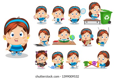Little brunette girl in blue dress. Kid in different poses and situations: reads, plays, dances, learns. Full length front and three quater view. Ready to use cartoon vector set isolated on white.