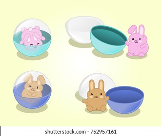 Little bunnies in gashapon capsules closed and open (set of 4 kawaii illustrations)
