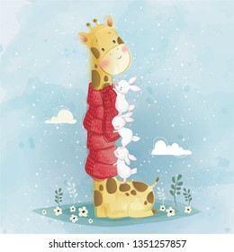 The Little Bunnies Helping the Giraffe Wearing the Scarf