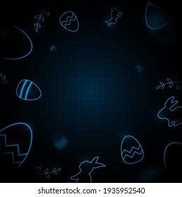 Little bunny with decorated Easter eggs. Futuristic technology concept in dark and blue light. Vector illustration