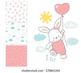 Little Bunny is flying in a balloon. Surface design and 3 seamless patterns. Cartoon vector illustration