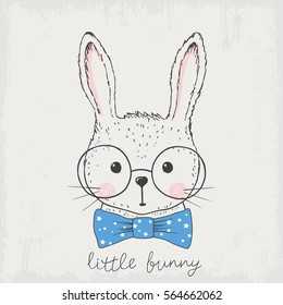 Little bunny. Hand drawn portrait cute rabbit with glasses