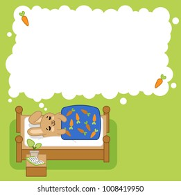 Little bunny sleeping, dreaming in think bubble with carrots (left blank for your text)