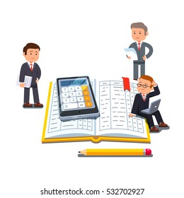 Little business accountants group standing near and sitting on big open accounting book or ledger tables with calculator and pencil. Flat style vector illustration isolated on white background.