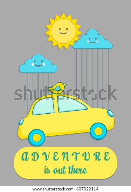 Little Car Cartoon Travel Quote Nursery Stock Vector Royalty Free