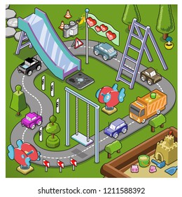 Little cars racing on round trip in a kindergarden playground with sandbox, slide, swing and jungle gym (isometric illustration)