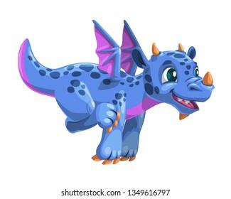 Little cartoon blue flying dragon. Vector friendly fantasy monster illustration. Isolated icon on white.