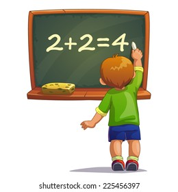 Little cartoon boy writes with chalk on a blackboard. Isolated vector illustration
