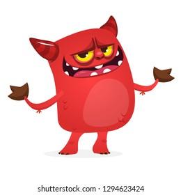 Little cartoon devil. Halloween devil caracter illustration