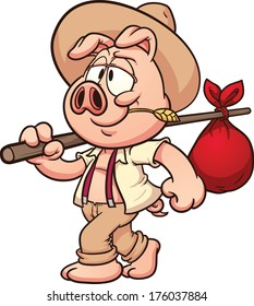 Little cartoon farmer pig. Vector clip art illustration with simple gradients. All in a single layer.