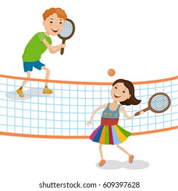 Little cartoon fun kids playing tennis in colorful clothes
