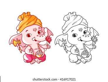Little cartoon Ganesha. Page for coloring book. Vector illustration isolated on a white background.
