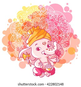 Little cartoon Ganesha. Sunny day. Vector cartoon illustration on a pink spotted background.