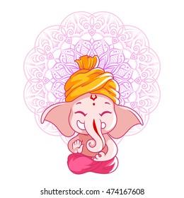 Little cartoon Ganesha. Sunny day. Vector cartoon illustration on a white background with mandala.