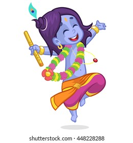 Little cartoon Krishna with eyes closed dancing with a flute. Greeting card for Krishna birthday. Vector illustration isolated on a white background.