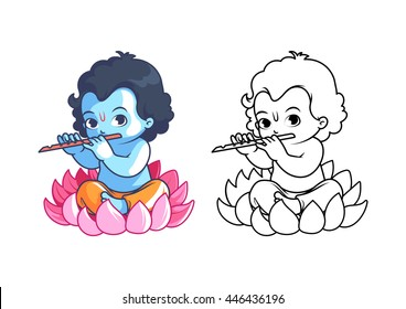 Little cartoon Krishna with flute. Page for coloring book. Vector illustration isolated on a white background.