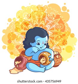 Little cartoon Krishna with a pot of makhan. Vector cartoon illustration on a yellow spotted background.