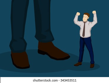 Little cartoon man with raised fist in angry gesture beside a bigger man. Creative vector illustration on displeasure with management concept isolated on green background.