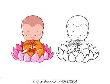 Little cartoon monk on the lotus. Page for coloring book. Vector illustration isolated on a white background.
