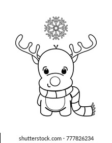 Little cartoon reindeer with a scarf around his neck. One snowflake over his head. Black and white outlines, coloring book page.