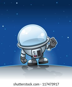 Little cartoon spaceman exploring new worlds