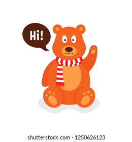 little cartoon teddy bear says hi. flat simple style trend modern graphic teddybear design on white background. concept of soft doll for sale in big toy store or toyshop and fluffy best friend