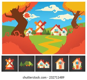 little cartoon village background and homes icons collection