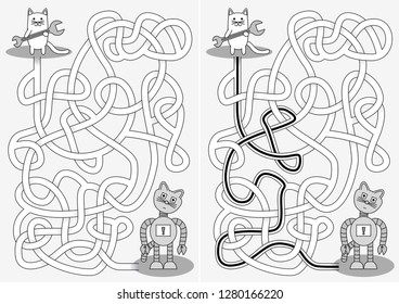 Little cat and broken robot maze for kids with a solution in black and white