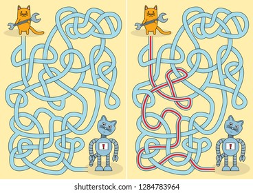 Little cat and broken robot maze for kids with a solution
