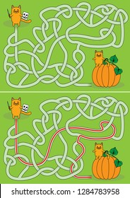 Little cat carving pumpkin maze for kids with a solution