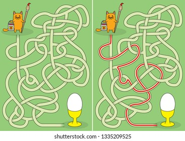 Little cat coloring Easter egg maze for kids with a solution