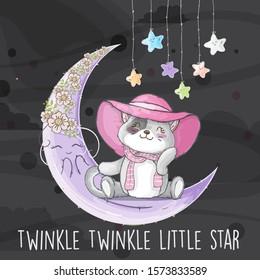 Little cat and cute moon with flower and star cartoon  illustration for kids. Gray cat on the purple moon cartoon vector. Cute cat wearing pink hat and scarf on the moon.